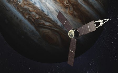 jupiter: Juno sattelite orbiting Jupiter.
