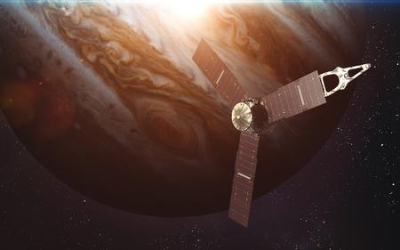 spacecraft: Juno spacecraft and Jupiter. Stock Photo