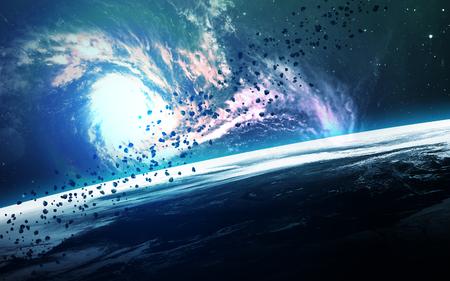 astronomie: Zusammenfassung der wissenschaftlichen Hintergrund - Planeten im Raum, Nebel und Sterne.