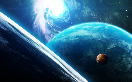 Abstract scientific background - planets in space, nebula and stars.