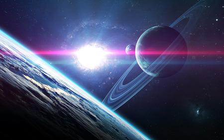 Resumen de antecedentes científicos - planetas en el espacio, nebulosa y las estrellas. Foto de archivo - 62208981