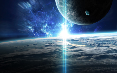 Scena dell'universo con pianeti, stelle e galassie nello spazio esterno che mostrano la bellezza di esplorazione dello spazio. Archivio Fotografico - 62209508