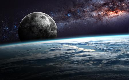 sol y luna: Tierra, la luna y las estrellas.