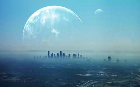 futuristic city: View of Futuristic City. Stock Photo