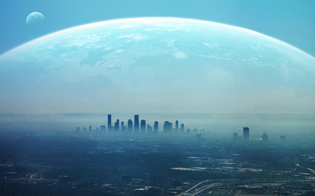 Pohled na futuristické město.