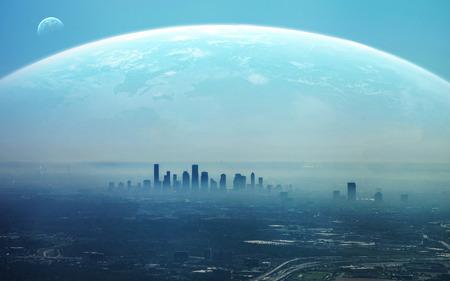 city: Vista de la ciudad futurista.