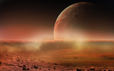 Gezicht op Mars van Phobos.
