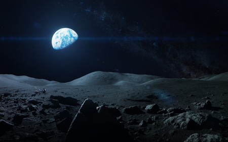 Mening van Aarde van de maan. Stockfoto