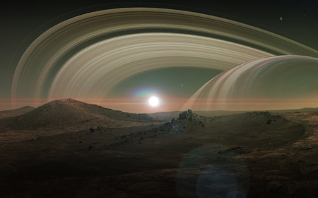 View of Saturn from Titan. Stock Photo