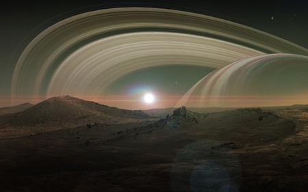 titan: View of Saturn from Titan. Stock Photo