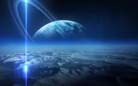 uranus: View of Uranus from Titania.