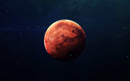 Mars - High resolution beautiful art presents planet of the solar system.