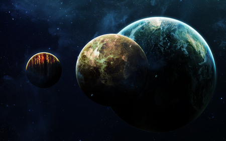 Deep space art. Nebulas, planets galaxies and stars in beautiful composition. Awesome for wallpaper and print.