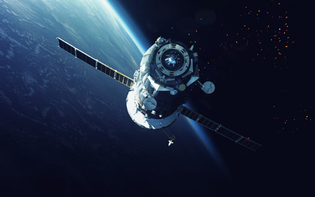 Spacecraft. Cosmic art, science fiction wallpaper. Beauty of deep space. Billions of galaxies in the universe. Stockfoto