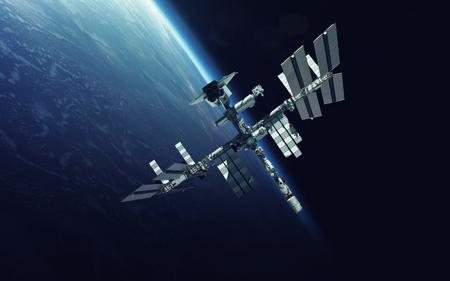 Station spatiale internationale sur la planète Terre. Banque d'images - 69540028