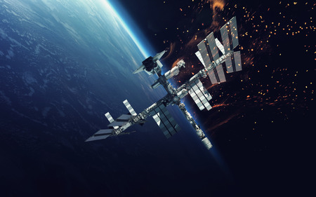 space station: International Space Station over the planet Earth.