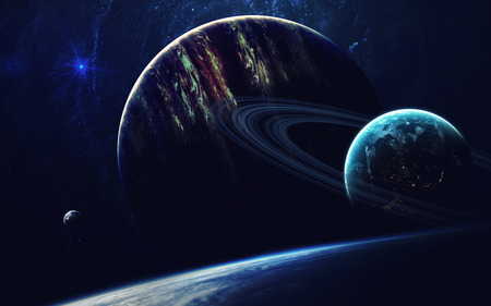 Cosmic art, science fiction wallpaper. Beauty of deep space. Billions of galaxies in the universe. Elements of this image furnished by NASA Stock Photo