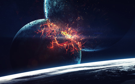 orbital: Planet Explosion. Apocalypse. End of The Time. Science fiction art. Beauty of deep space. Elements of this image furnished by NASA