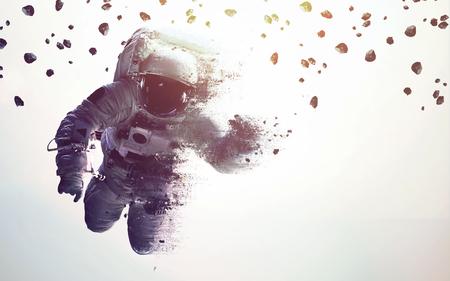 Astronauta w kosmosie nowoczesna sztuka minimalistyczna. Dualtone, anaglif. Elementy tego obrazu dostarczone przez NASA