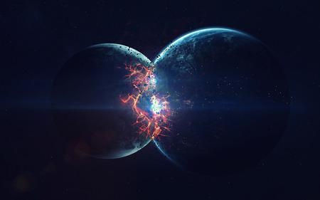 地球爆発。黙示録。時間の終わり。空想科学小説の芸術。深宇宙の美しさ。NASA から提供されたこのイメージの要素