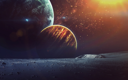 Cosmic art, science fiction wallpaper. Beauty of deep space. Billions of galaxies in the universe.