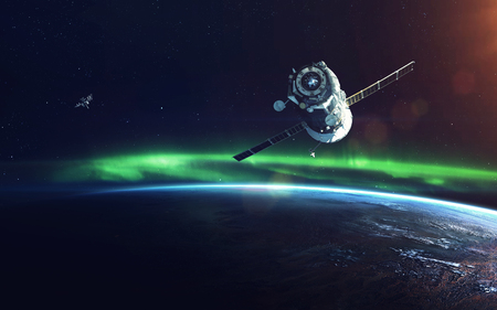 Natural phenomenon of Northern Lights (Aurora Borealis) related to the earths magnetic field. Elements of this image furnished by NASA Zdjęcie Seryjne