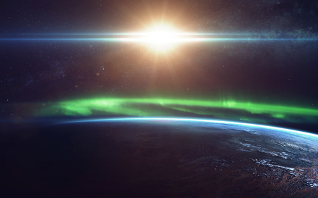 radiacion solar: Natural phenomenon of Northern Lights (Aurora Borealis) related to the earths magnetic field. Elements of this image furnished by NASA Foto de archivo