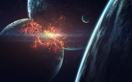 Explosion de la planète. Apocalypse. Fin du temps. Art de science fiction. Beauté de l'espace profond. Éléments de cette image fournie par la NASA Banque d'images - 71473742