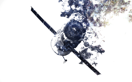 Modern space art. Dust of universe, smoke, isolated on clear white background. Imagens