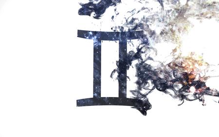 Signo del zodiaco - géminis. El polvo del universo, el arte minimalista. Los elementos de esta imagen proporcionada por la NASA Foto de archivo - 74999728