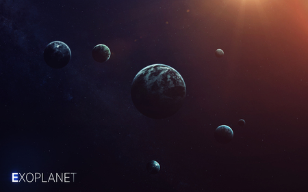 nebulae: Trappist-1e exoplanets away from solar system. Elements furnished by NASA Stock Photo