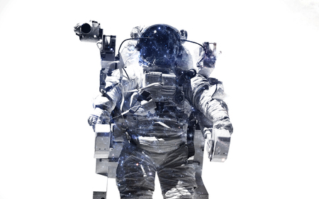 arte moderno: Modern space art. Astronaut at spacewalk. Dust of universe, smoke, isolated on clear white background. Elements furnished by NASA