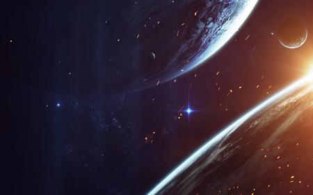宇宙アート、サイエンス フィクションの壁紙。深宇宙の美しさ。宇宙の銀河の数十億。NASA から提供されたこのイメージの要素 写真素材