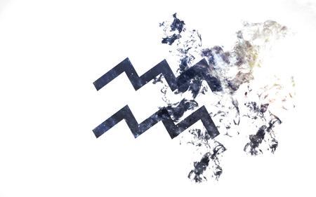 Zodiac sign - Aquarius. Dust of the universe, minimalistic art.