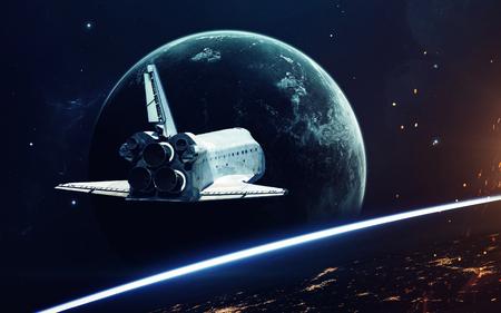 Imaginação do espaço profundo, planetas, estrelas e galáxias em universo infinito. Elementos desta imagem fornecidos pela NASA Foto de archivo