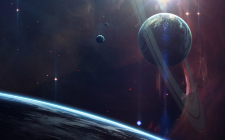 Espaço profundo da beleza, planetas, estrelas e galáxias em infinito universo. Elementos desta imagem fornecidos pela NASA
