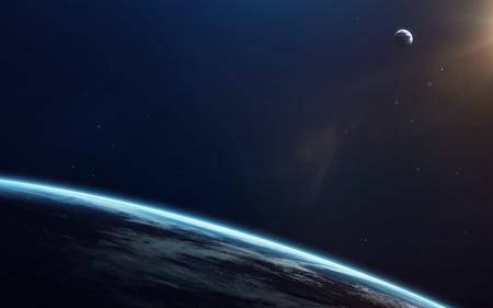 Kleine blauwe planeet aarde in de diepe ruimte. Elementen van deze afbeelding geleverd door NASA Stockfoto