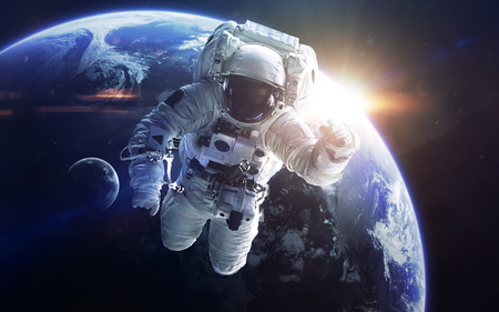 Little blue planet Earth in deep space. Elements of this image furnished by NASA