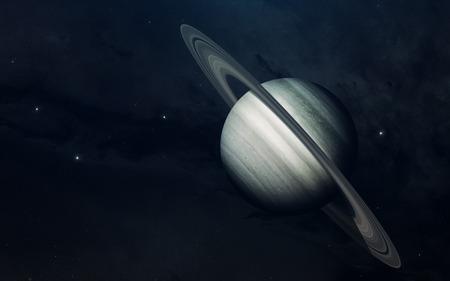 Planeet van het zonnestelsel, Saturnus, in eindeloze donkere ruimte. Educatieve afbeelding. Elementen van deze afbeelding geleverd door NASA