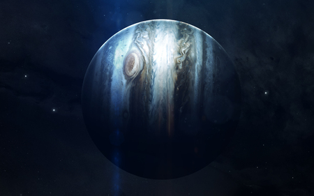 Realistic image of Jupiter, planet of solar system. Educational image. Elements of this image furnished by NASA