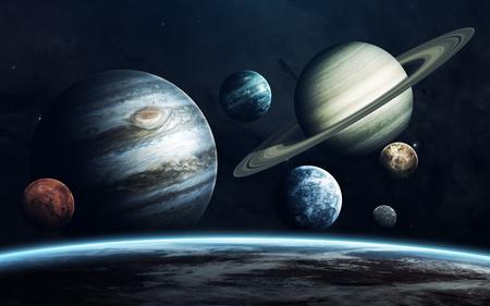 太陽系の惑星。地球、火星、木星、他。NASA から提供されたこのイメージの要素