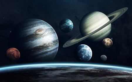 Planets of Solar system. Earth, Mars, Jupiter and others. Elements of this image furnished by NASA