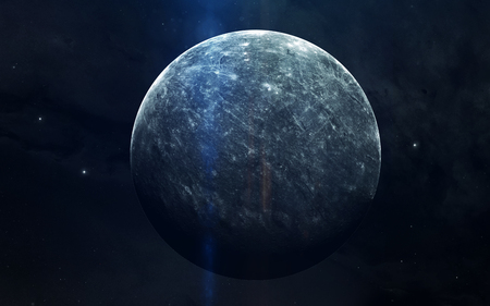 Realistic image of Mercury, planet of solar system. Educational image. Elements of this image furnished by NASA