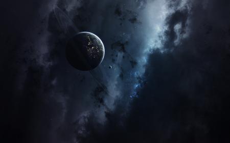Science fiction space wallpaper, ongelooflijk mooie planeten, sterrenstelsels, donkere en koude schoonheid van eindeloos universum. Elementen van deze afbeelding geleverd door NASA