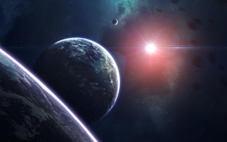空間アート、サイエンス フィクションを信じられないほど美しい壁紙。無限宇宙。NASA から提供されたこのイメージの要素