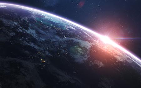 Erde. Abstrakte Raumtapete. Universum gefüllt mit Sternen, Nebeln, Galaxien und Planeten. Elemente dieses Bildes von der NASA eingerichtet