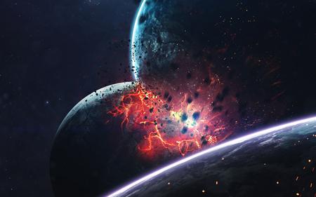 Planeten explosie, science fiction beeld, donkere diepe ruimte met gigantische planeten, hete sterren, sterrenvelden. Ongelooflijk mooi kosmisch landschap. Elementen van deze afbeelding geleverd door NASA