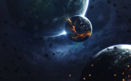 Explosion des Planeten, Zukunftsromanbild, dunkler Weltraum mit riesigen Planeten, heiße Sterne, starfields. Unglaublich schöne kosmische Landschaft. Elemente dieses Bildes von der NASA eingerichtet Standard-Bild - 88563436