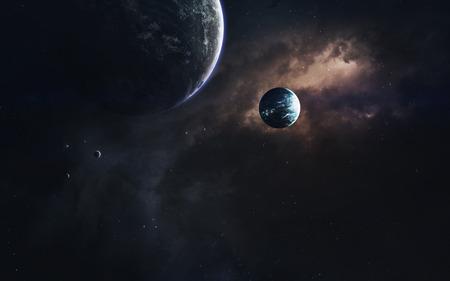 無限の宇宙、科学フィクション イメージ、巨大な惑星、高温の星、starfields 暗い深宇宙。信じられないほど美しい宇宙の風景です。NASA から提供され 写真素材