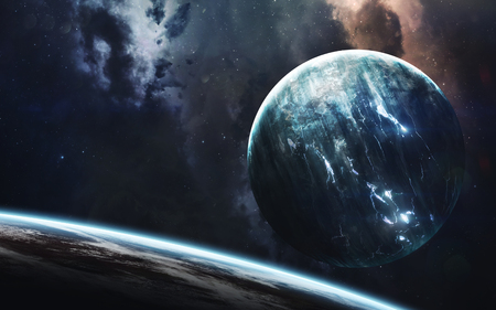 Endless universe, science fiction image, dark deep space with giant planets, hot stars, starfields. Incredibly beautyful cosmic landscape . Elements of this image furnished by NASA